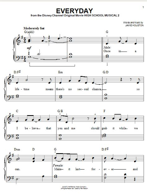 Everyday Sheet Music | High School Musical 2 | Easy Piano
