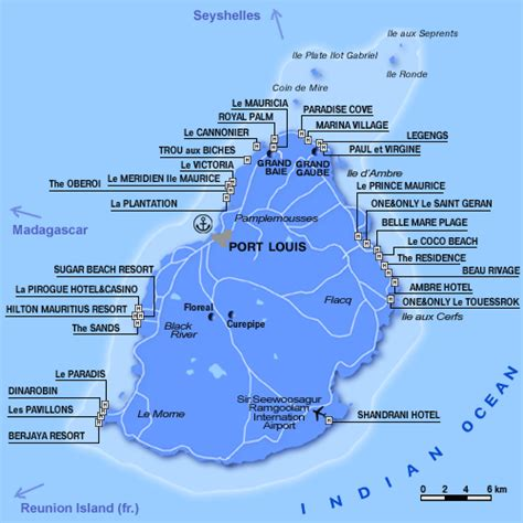 Mauritius Hotels Map - Hotels Locations Map - Mauritius