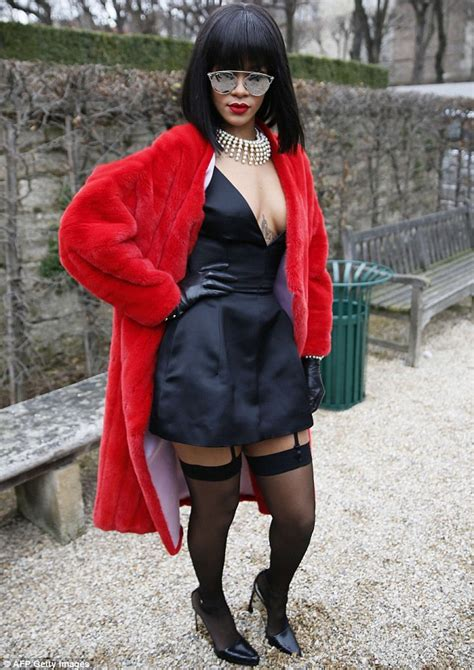 Rihanna goes for sexy French maid look at Dior Paris