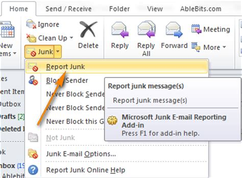 How to stop spam by configuring Outlook Junk E-mail Filter