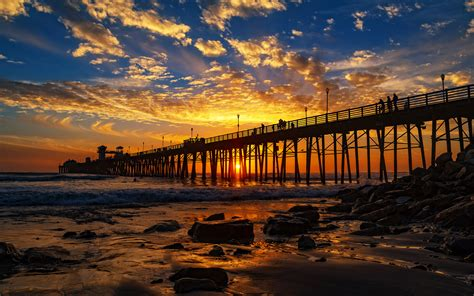Red Sunset At The Oceanside Pier San Diego California